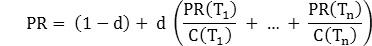 Формула расчета PageRank
